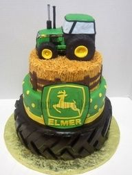 Tractor Cake! Perfect for a little boys birthday! Of course there would be no John Deere at our house though!