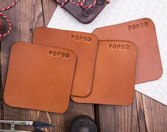 Natural Leather Coasters (4 in set), Drink coasters, Full Grain Leather, Leather table decors, Housewarming Wedding Anniversary Gift
