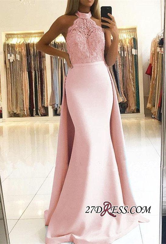 8ad11caab1 Elegant Halter Lace Prom Dresses
