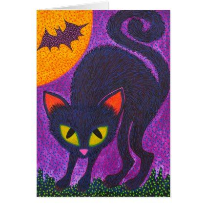 Scary Cat Card - black gifts unique cool diy customize personalize