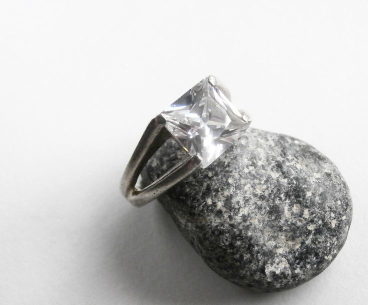 Square Stone Ring - Cubic Zirconia Ring - Vintage Silver Ring - Large Stone Ring