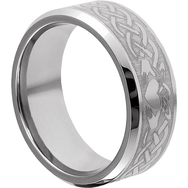 Clatter rings by Forever Metals. Claddagh Irish Wedding Band in 9mm comfort fit for men. Features the classic heart and hands symbol with stylish knot work.