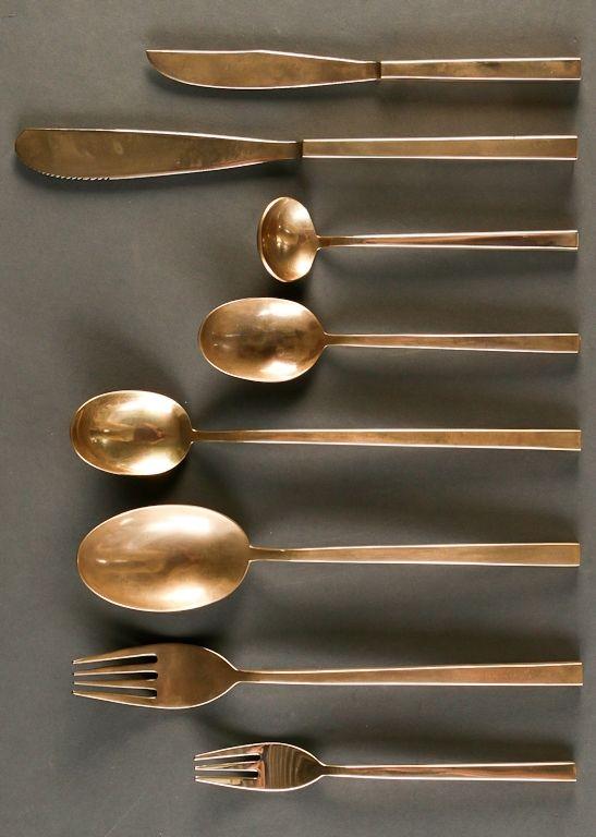 SIGVARD BERNADOTTE, Brass cutleries for Scanline, Denmark, ca.1950s.