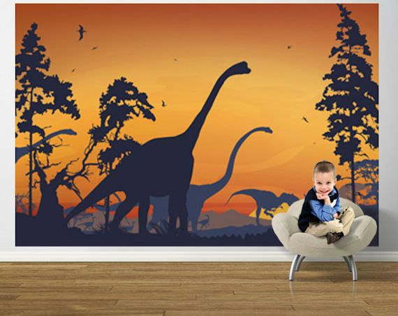 LOVELOVELOVE!       Dinosaur Landscape Blue and Orange Pre Pasted  - Wall Sticker Outlet