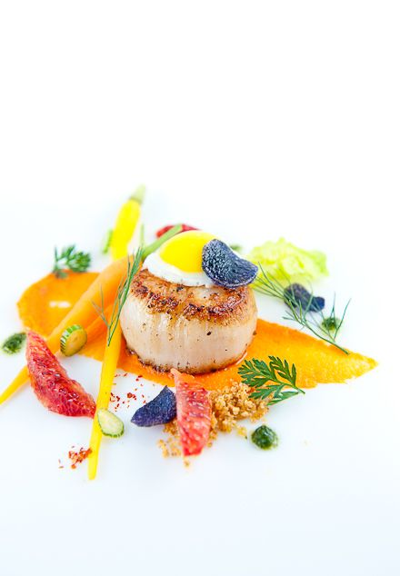 SCALLOPS & CARROTS~ 8 scallops, 2 tbsp grapeseed oil, 3 tbsp butter, 8 oz roasted carrots, 8 quail eggs, small purple potatoes, blood orange segments, bottarga, herbs, carrot puree, 1 tsp ground cumin, salt, white pepper. Pickled Carrots: 8 oz baby carrots, 1 cup rice wine vinegar, 1 cup water, ½ cup sugar, ¼ cup honey, ½ tbsp kosher salt, 1 tbsp juniper berries, 1 tbsp coriander seed, 1 tbsp black peppercorns, 1 tbsp fennel seeds, 2 bay leaves, 1 tsp dried chili flakes.