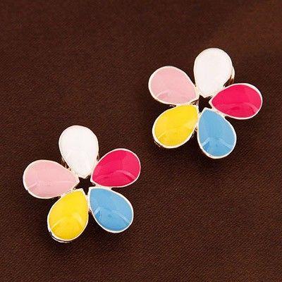 Multicolor colorful Flower Stud Earrings