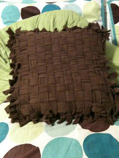 old pillow covered with fleece like a tie blanket. Weave pattern. For the pillows on the couch that Harley chewed up in his puppy stage lol