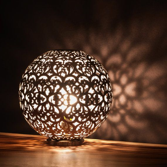 Round Table Lamp made from Nickel | Beautiful Light Projection | Ambiance Lighting on Etsy, $287.97