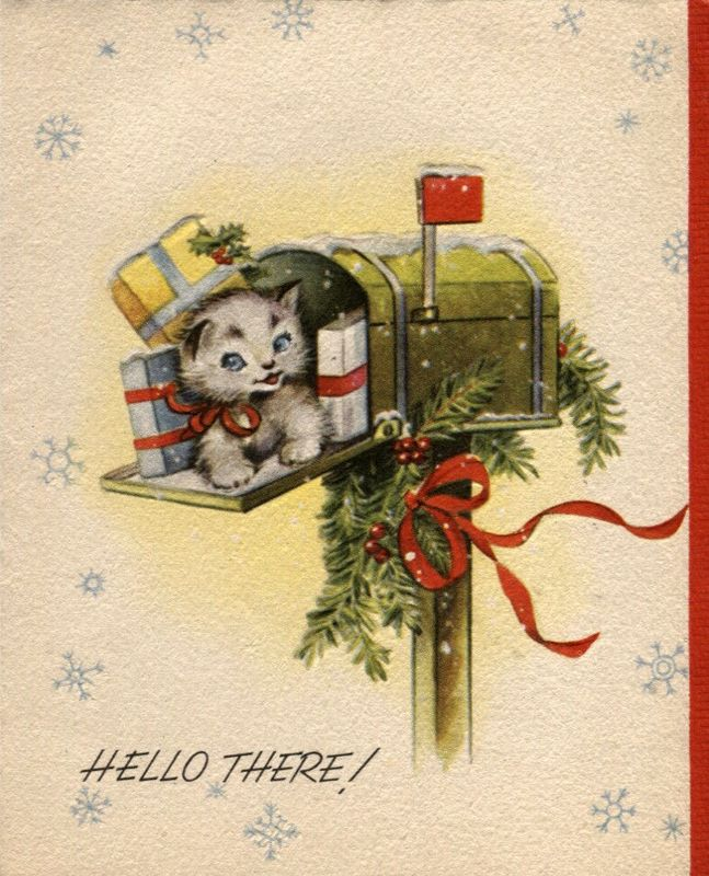 Vintage christmas kitten in mailbox with gifts christmas for Papier peint pour ordinateur gratuit