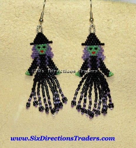 Witchy Poo Brick Stitch Delica Seed Beaded Earrings Halloween