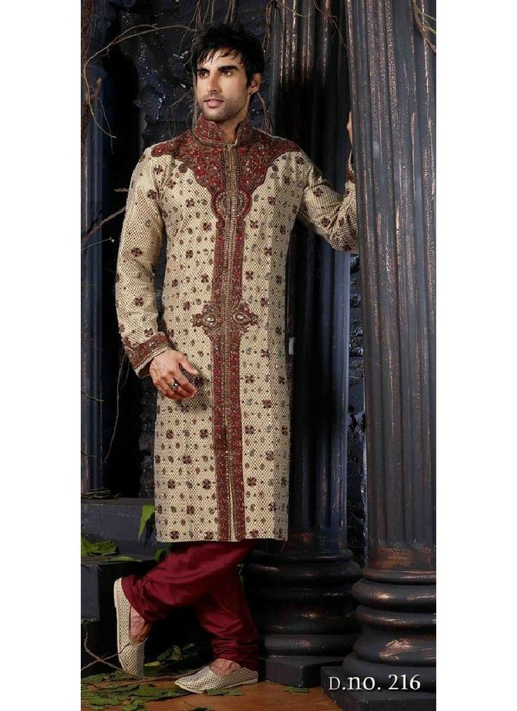 Here is the most delicately crafted outfit for you to enrich your personality with style. This outstanding sherwani designed over Nylon Poly embellished with amazing patterns all over with great care and perfection. For more visit www.chennaistore.com