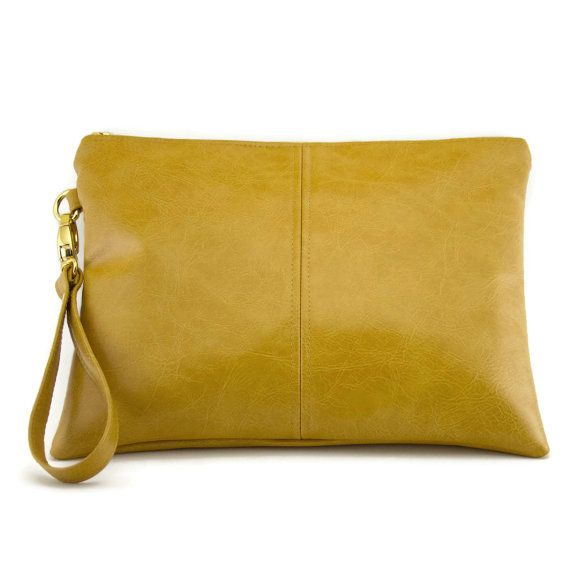 Large clutch bag  mustard yellow  wristlet purse by CandiedCottons