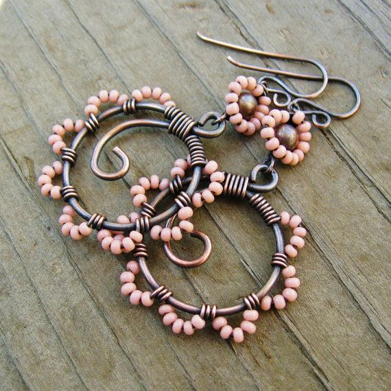 Bead Dance earrings in Cheyenne Pink  wire wrapped and seed beaded by BearRunOriginals