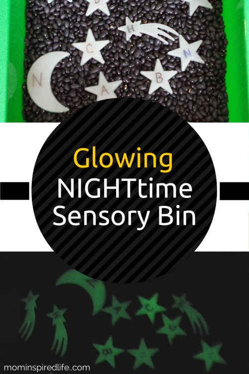 Alphabet Activities: Nighttime Sensory Bin. Preschoolers really love the glow in the dark aspect of this bin and it's a very engaging way to work on letter recognition and letter sounds. It is an excellent sensory bin for preschool night theme plans!