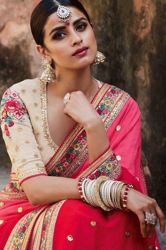 Indian Silk Sari Coral and Beige Sari Blouse Sari by AshaMarket
