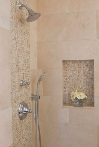 Layout for Tile Tub Surround creme marvil | This built-in shelf and center strip gives this tiled shower an extra ...