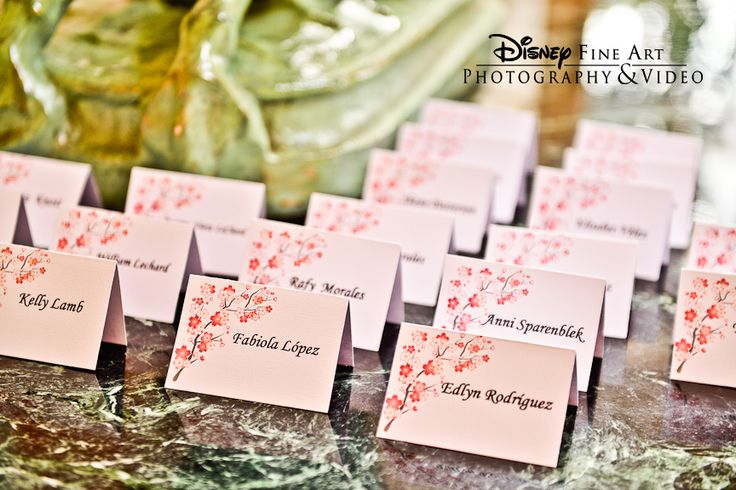 Beautiful Cherry Blossom Place Cards From A Reception