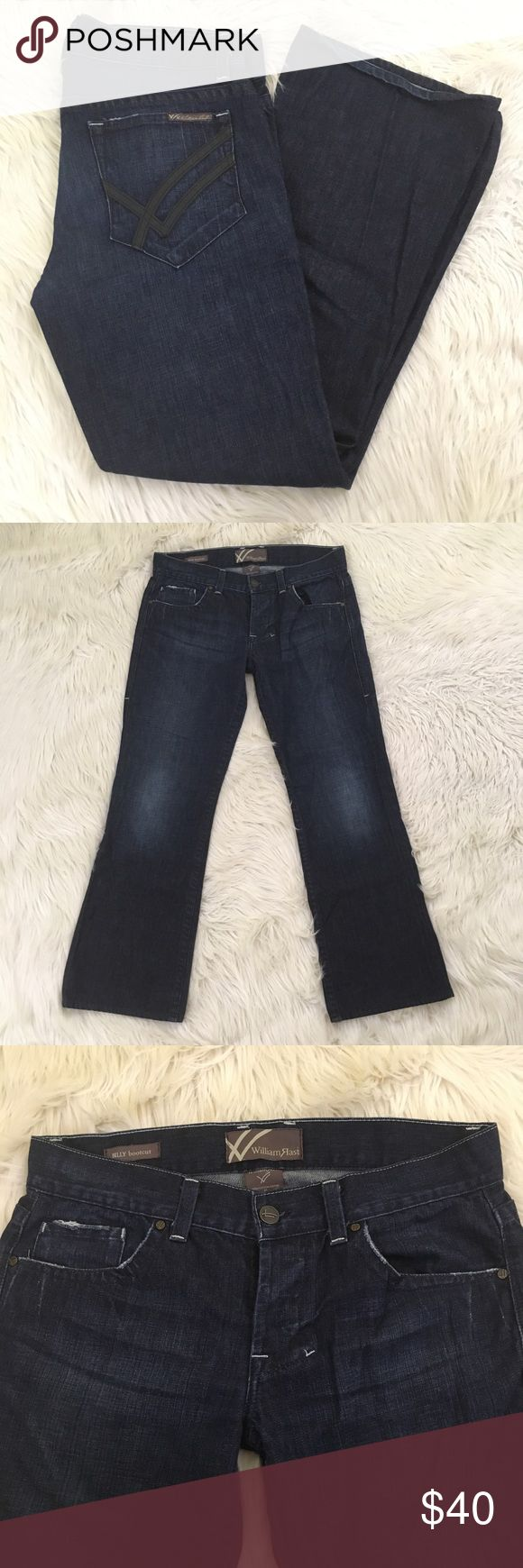 "William Rast Mens Size 34 Billy Bootcut Jeans William Rast Mens Size 34 Billy Bootcut Jeans With Button Fly and in Dark Wash.   Slightly Distressed.   Excellent condition no flaws.  Waist flat: 18.5""  Inseam: 32""  Rise: 10""  📌NO lowball offers 📌NO modeling 📌NO trades  Come check out the rest of our closet! We have various brands and ALL different sizes! William Rast Jeans Bootcut"