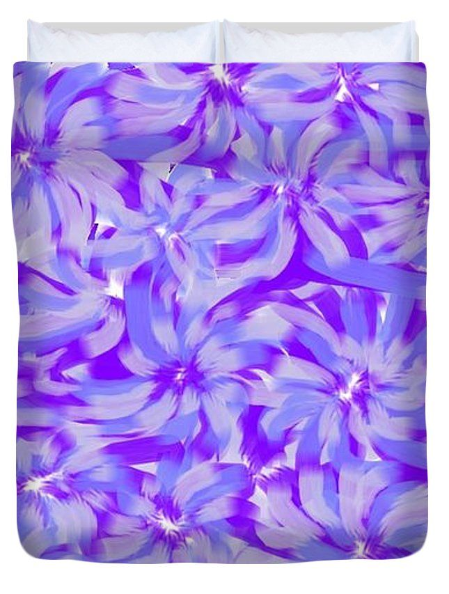 Queen Size Duvet Covers of 'Lavender Blue 1' by Sumi e Master Linda Velasquez.