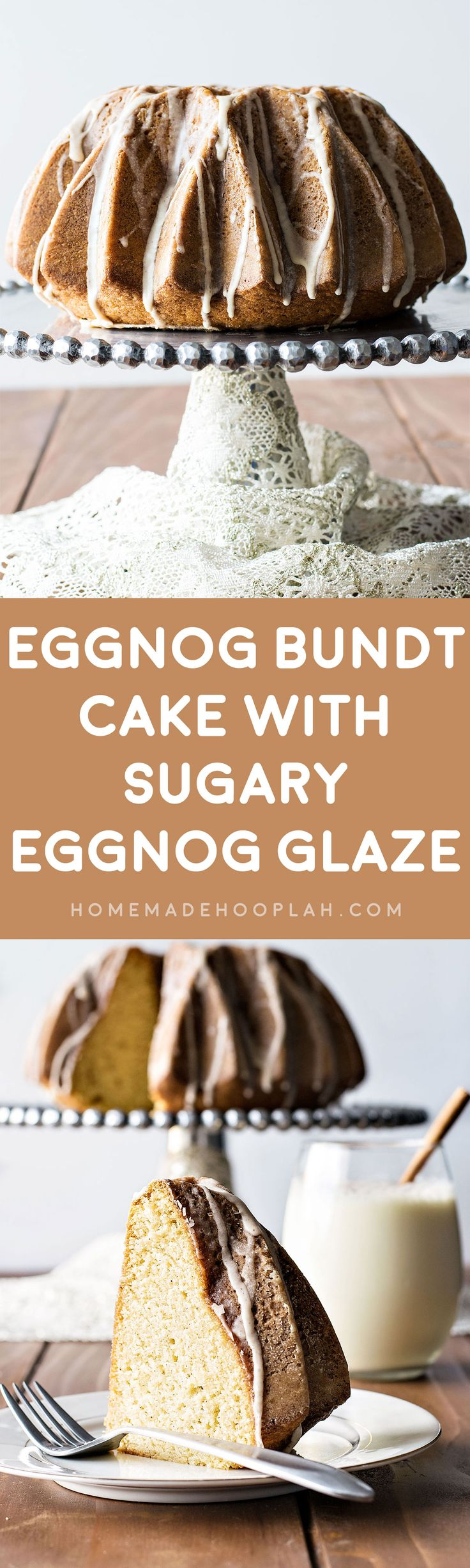 Eggnog Bundt Cake with Sugary Eggnog Glaze! Ultra moist and buttery bunt cake flavored with eggnog, rum, cinnamon, and nutmeg, then covered with a sweet eggnog glaze. It's a sweeter way to enjoy the holiday season's favorite drink!   HomemadeHooplah.com