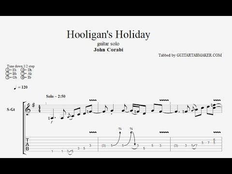 John Corabi - Hooligans Holiday guitar solo TAB - acoustic guitar solo
