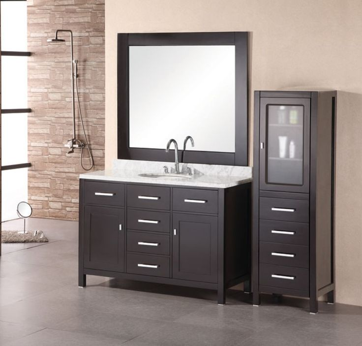 bathroom minimalist black bathroom vanity cabinet with white granite vanity top plus square mirror get classy