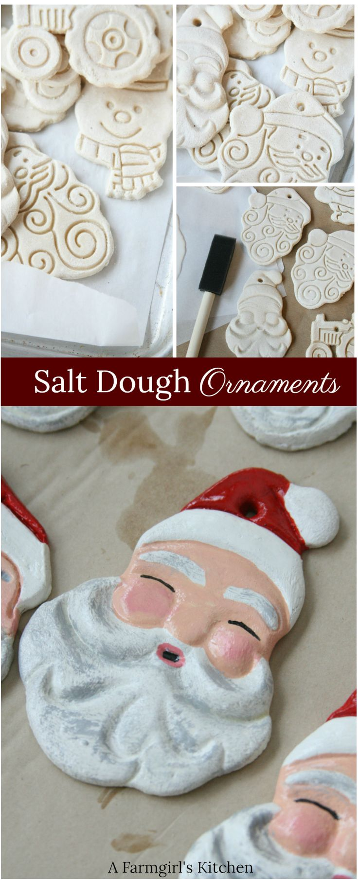 Painted Santa Salt dough ornaments are easy to mak…