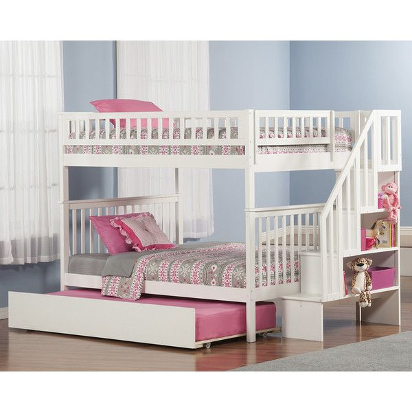 Atlantic Furniture Woodland Full Over Full Bunk Bed With Trundle And  Staircase U0026 Reviews | Wayfair