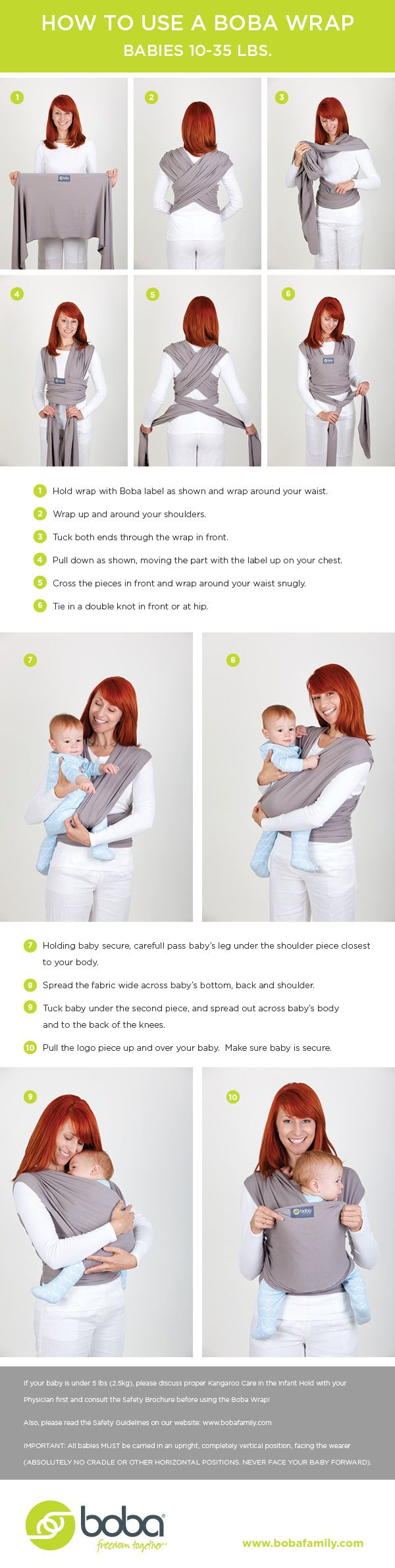 Helpful instructions on how to tie a wrap baby carrier and then get your baby in the best way!