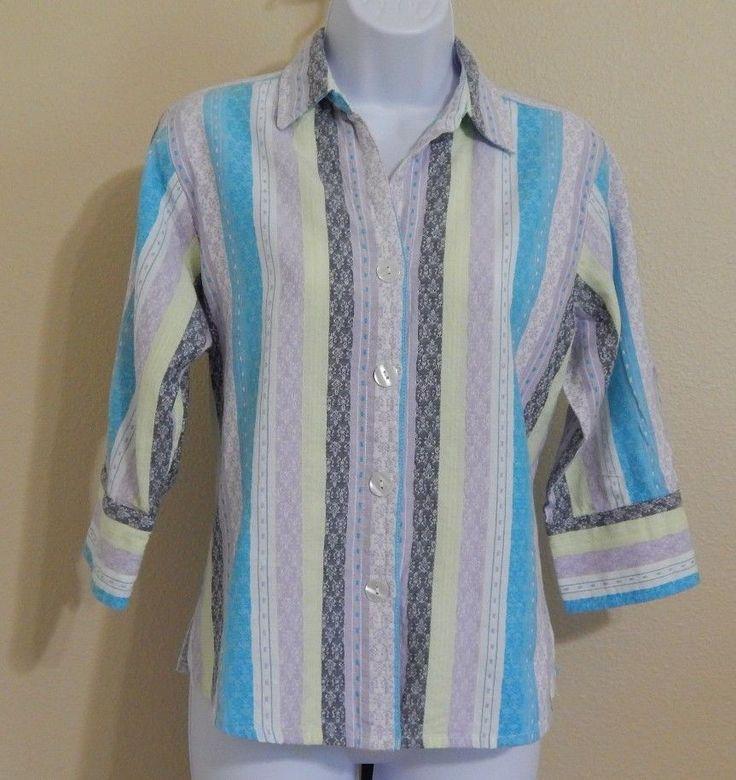 Baxter & Wells Petite Women's Multi-Color Pastel 3/4 Sleeve Shirt Size PM #BaxterWells #ButtonDownShirt #Casual