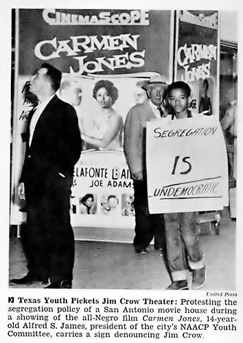 Texas Youth Pickets San Antonio Segregated Movie Theater - Jet Magazine, April 21, 1955