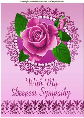 WITH SYMPATHY PAINTED PINK ROSES IN PEARL FRAME A4 on Craftsuprint - Add To Basket!