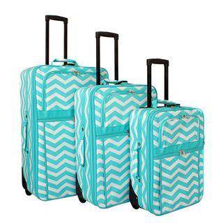 world traveler chevron collection expandable 3piece wheeled upright luggage set overstock shopping