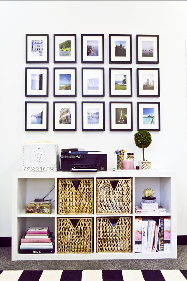 Sideboard bookcase Ikea Expedit, gallery wall