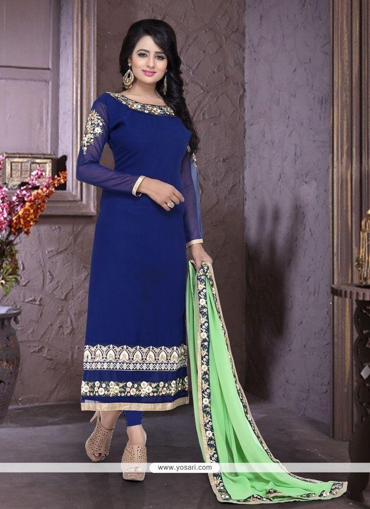Graceful Embroidered Work Blue Georgette Churidar Designer Suit Model: YOS8091