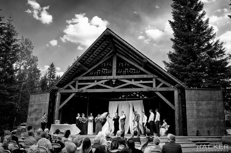 Wedding Ceremony at Stan Rogers concert stage  Wedding Photography in Canmore Alberta    Walker Photography www.walkerphoto.ca