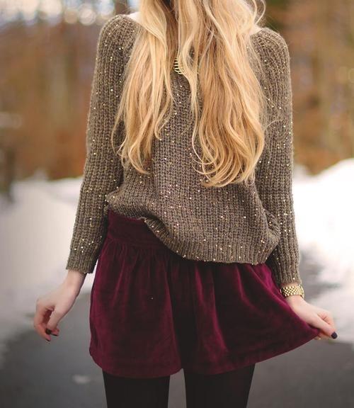 Sparkle sweater + velvet skirt Absolutely in love
