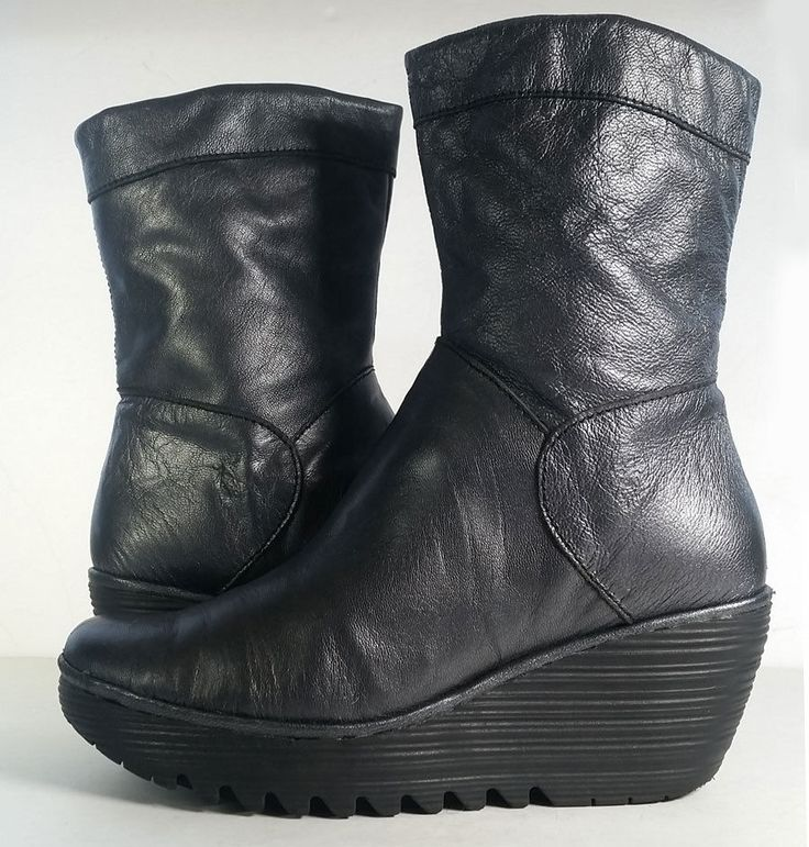 $225 FLY LONDON BOOTS 39 Gray Metallic Leather Tall Ankle Boots *LOVELY* SZ 8.5 #FLYLondon #AnkleBoots #versatile