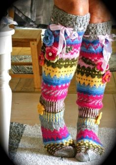 Knitted Knee Length Striped Socks with Flowers Pattern