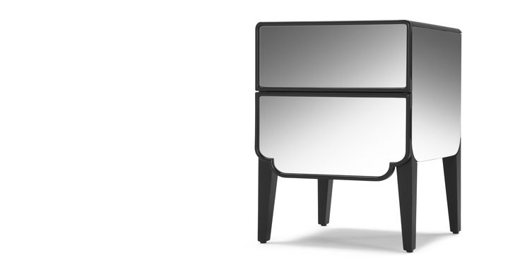 Cute and Unusual Mirrored Bedside Table