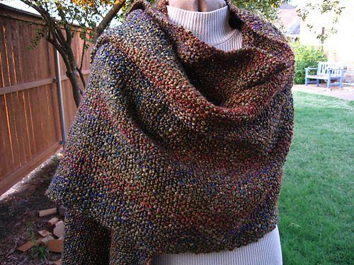 Homespun Yarn Knitting Patterns : Shawl woven with LionBrand Homespun yarn. I love the texture!