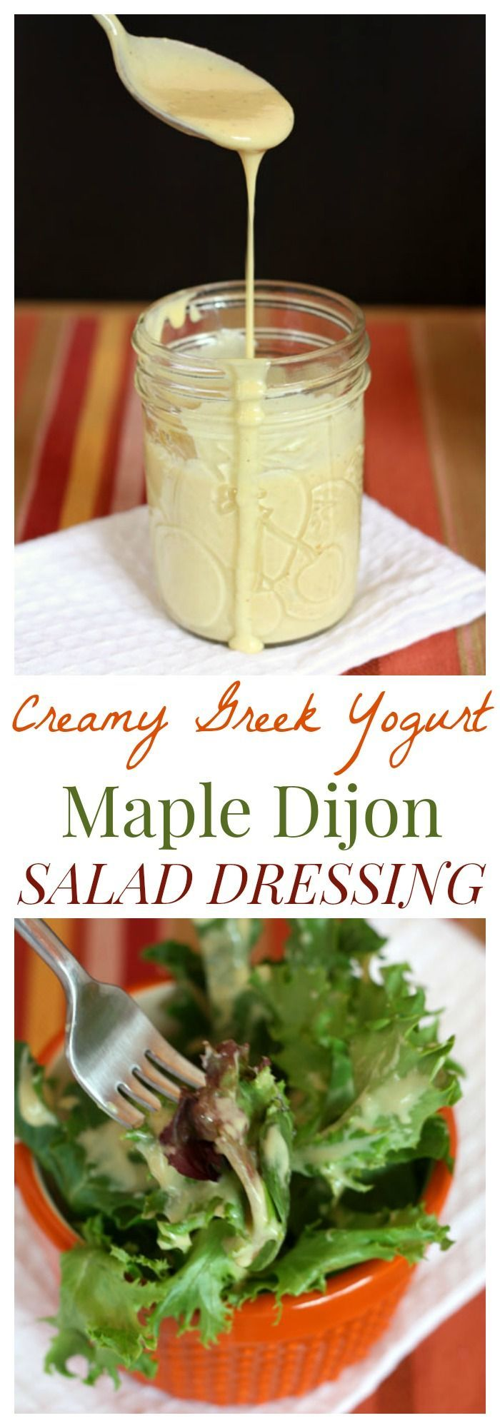 Creamy Maple Dijon Greek Yogurt Salad Dressing - it's so easy to make your own rich, creamy but still light and healthy dressing | cupcakesandkalechips.com | gluten free recipe