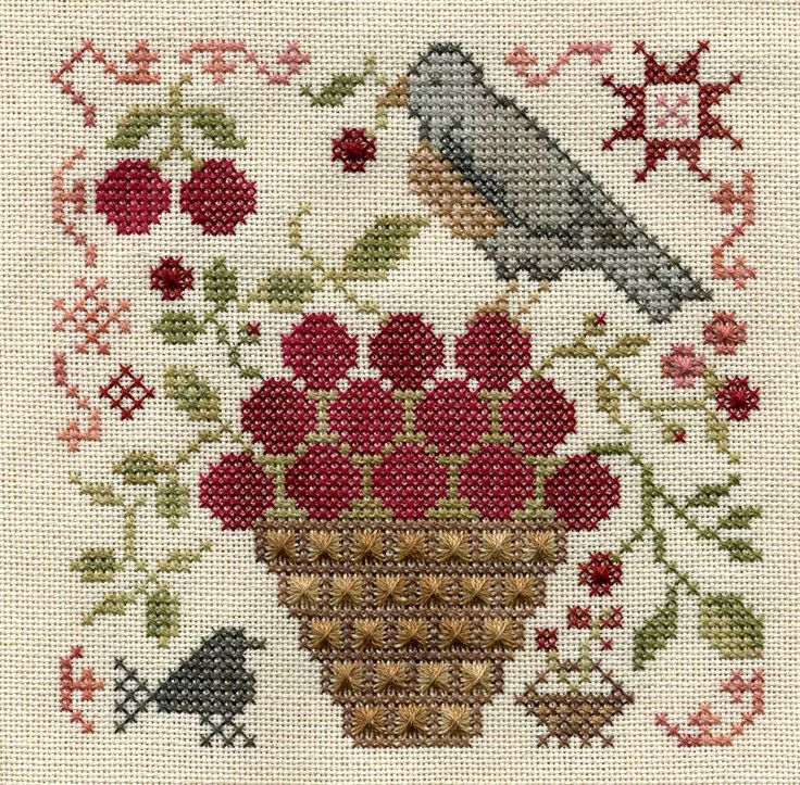 Blackbird Designs - Basket of Cherries. This is the first block of a SAL with Margaret. I have changed the Smyrna crosses in the basket to Rhodes stitches.