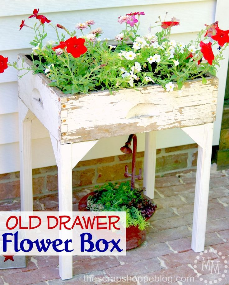 Old Drawer used as a container. Want to know how to make one then go to Photo: thescrapshoppeblog.com