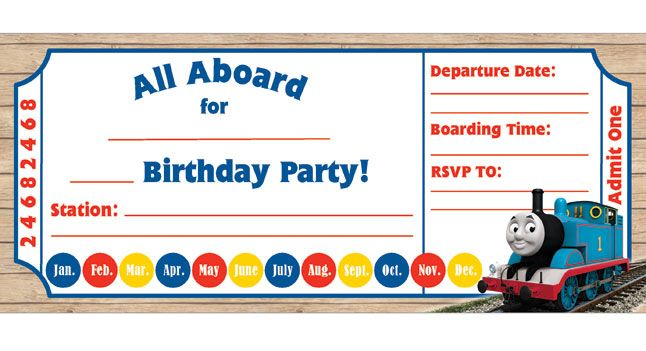 We've got birthday invitations, thank you cards, award certificates, and more for you to use for your child's Thomas the Tank Engine party!
