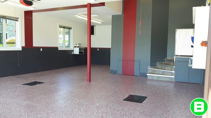 Superbe plancher de garage en polyuréa avec flocon! #plancherdegarage #garage #polyurea
