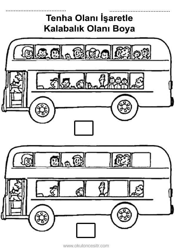 Belediye otobüsünden kalabalık tenha kavramı çalışmaları sayfası kağıdı, miktar kavramları ve kalabalık tenha siyah beyaz örnekleri, etkinlikleri sayfaları resmi, miktar çalışması etkinliği kağıdı, crowded and deserted worksheeets bilgisayara indir ve çıktı alma sitesi.