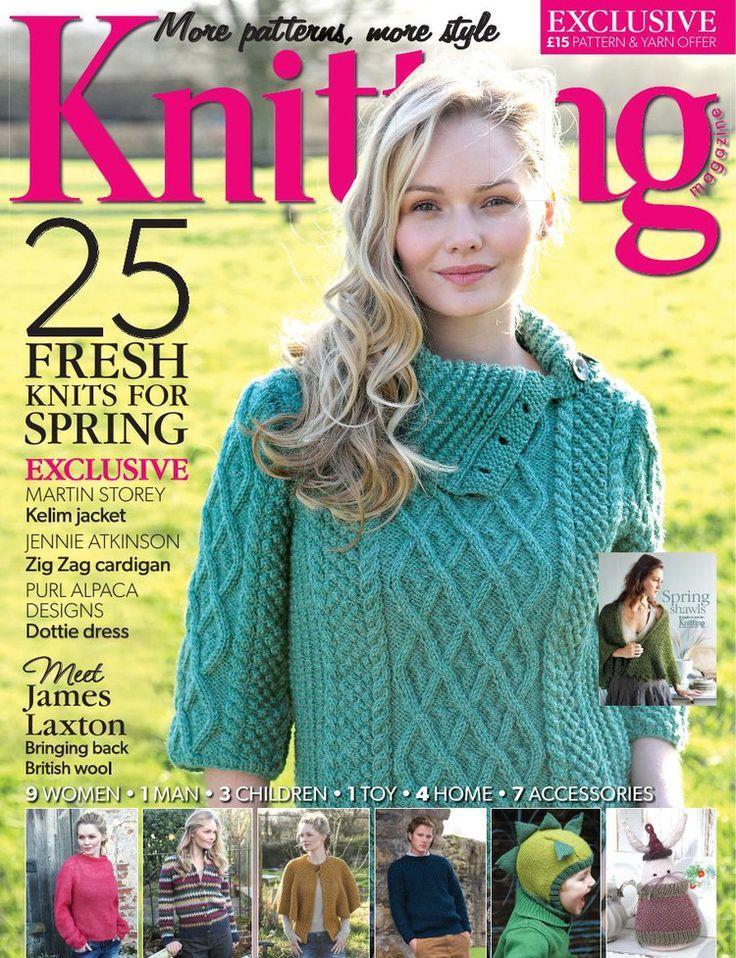 Knitting April 2013 Sausalito bag Spring shawls Footstool Ruffles tea cozy