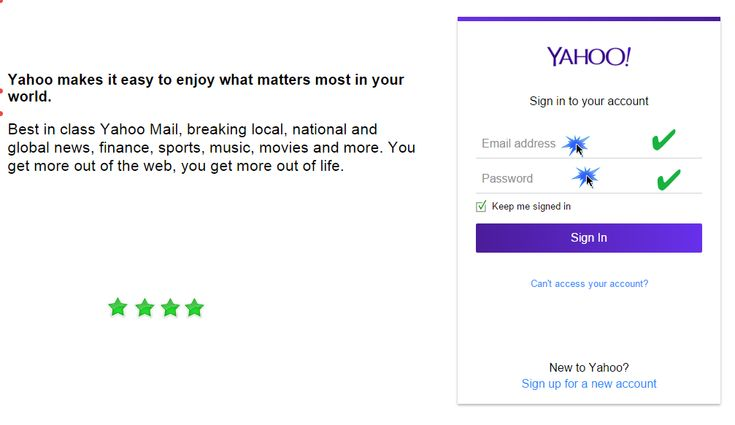 Yahoo Mail sign in page