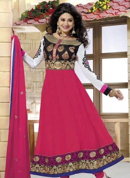 Party Wear Pink Anarkali Salwar Kameez In Georgette . Shop at - http://www.gravity-fashion.com/party-wear-pink-anarkali-salwar-kameez-in-georgette-gf7140027.html